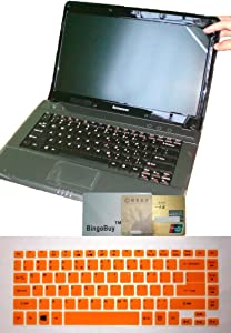US Layout Keyboard Skin Cover +14'' anti glare &fingerprint &scratch Screen Protector for ACER ASPIRE V7-482P, V7-482PG, V5-473P, V5-472P, V5-472G, R3-471T(semi-orange keyboard skin)