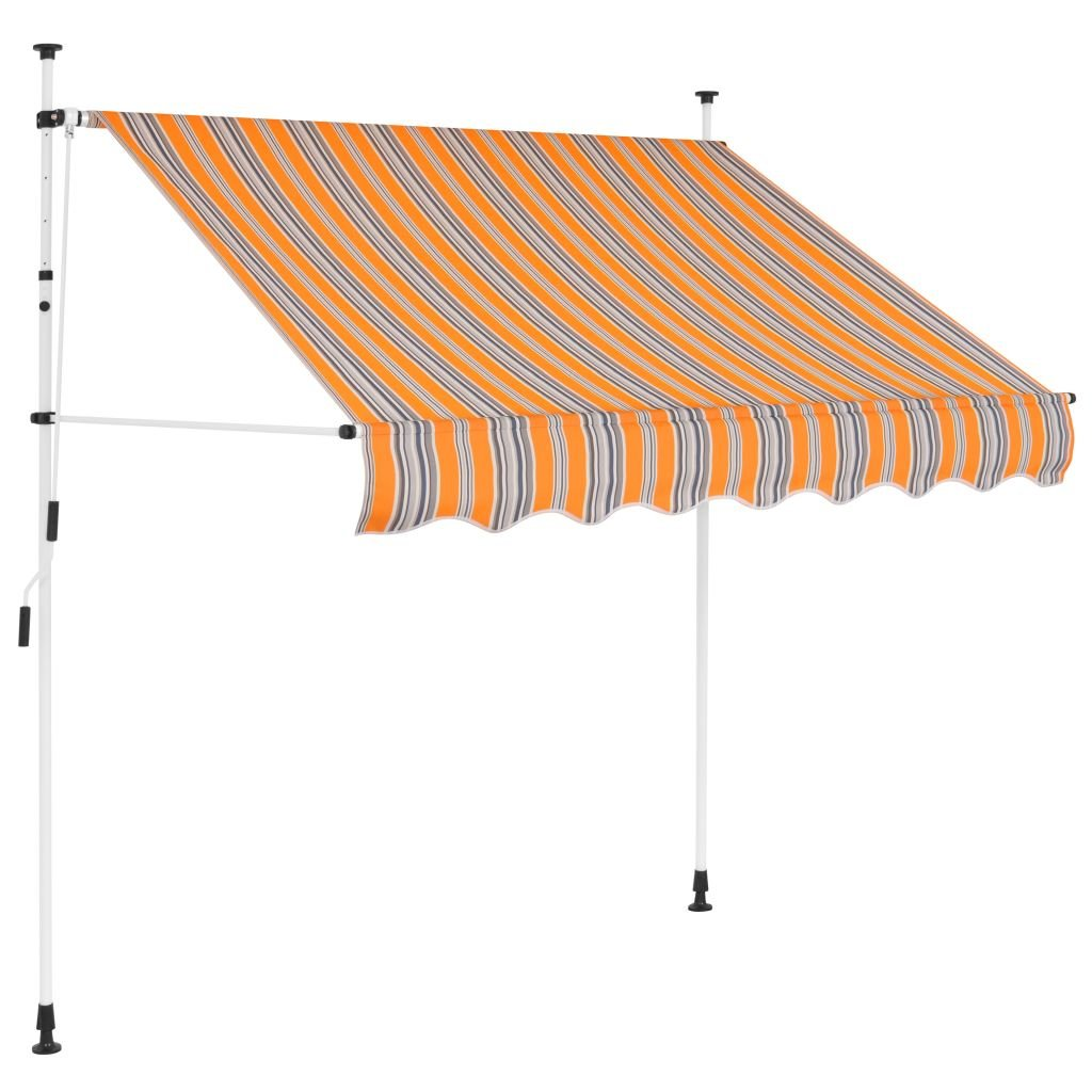 Festnight Manual Awning Canopy Retractable Awning Sun Shade 150 cm Yellow and Blue Stripes