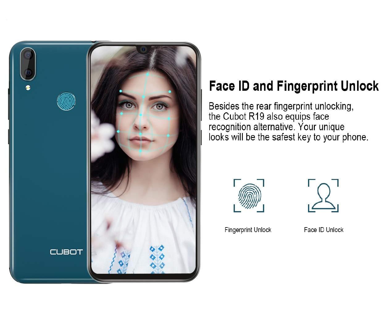 CUBOT R19 Telephone Portable Pas Cher Android 9.0 3GB+32GB, Smartphone Debloqué Triple Slot Dual SIM, Écran, 5.71 MT6761 Quad Core Double Camera 13MP+2MP/8MP 2800mAh Batterie-Blu