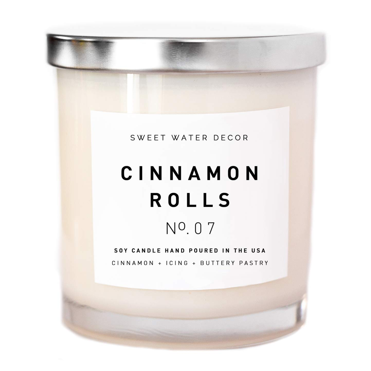 Cinnamon Rolls Natural Soy Wax Candle White Jar Silver Lid Scented Cloves Vanilla Icing Buttery Pastry Food Fall Winter Christmas Lead and Gluten Free Cotton Wicks Country Rustic Decor Made in USA by Sweet Water Decor