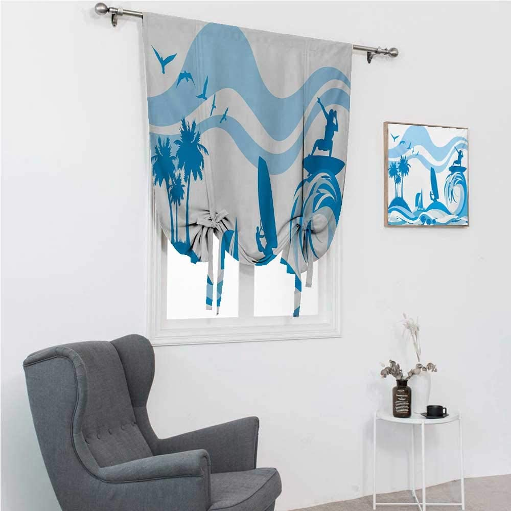 """GugeABC Roman Shades Aquatic Thermal Insulated Adjustable Surfer on Waves Water Sports Recreation Palms Sea Sailboats Summertime Holiday 30"""" Wide by 64"""" Long Blue Pale Blue"""