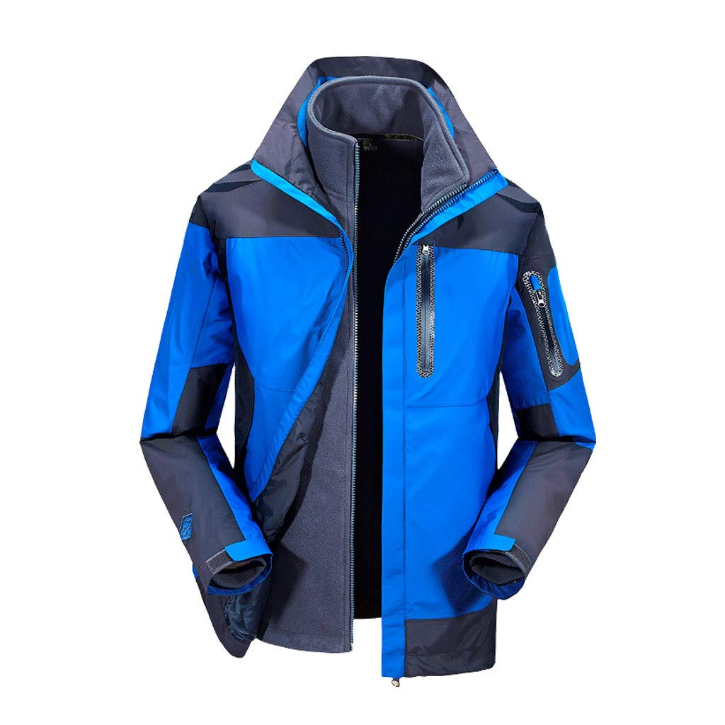 Men Cold-Proof Jacket Three-in-one Detachable Plus Velvet Two-Piece Large Size Outdoor Hiking Coat (XL, Blue) by Moxiu Men's Coat