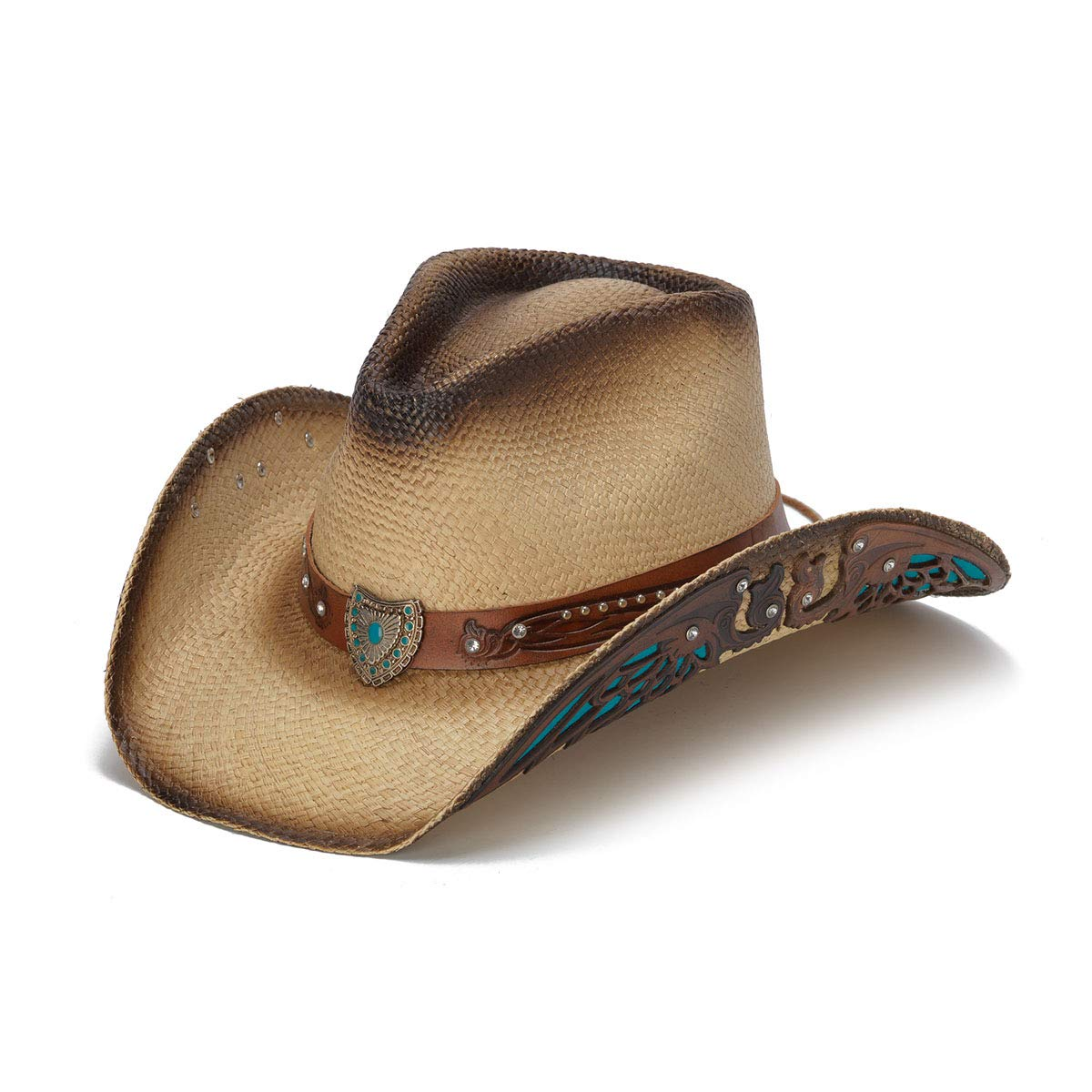 Stampede Hats Women's Concho Turquoise Wings Rhinestone Western Hat XS Tea Stain