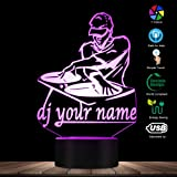 DJ Your Name Custom Night Light Gift for DJ Lover Personalised LED Lamp Decorative Lighting Mood Lamp 3D Optical Illusion Light