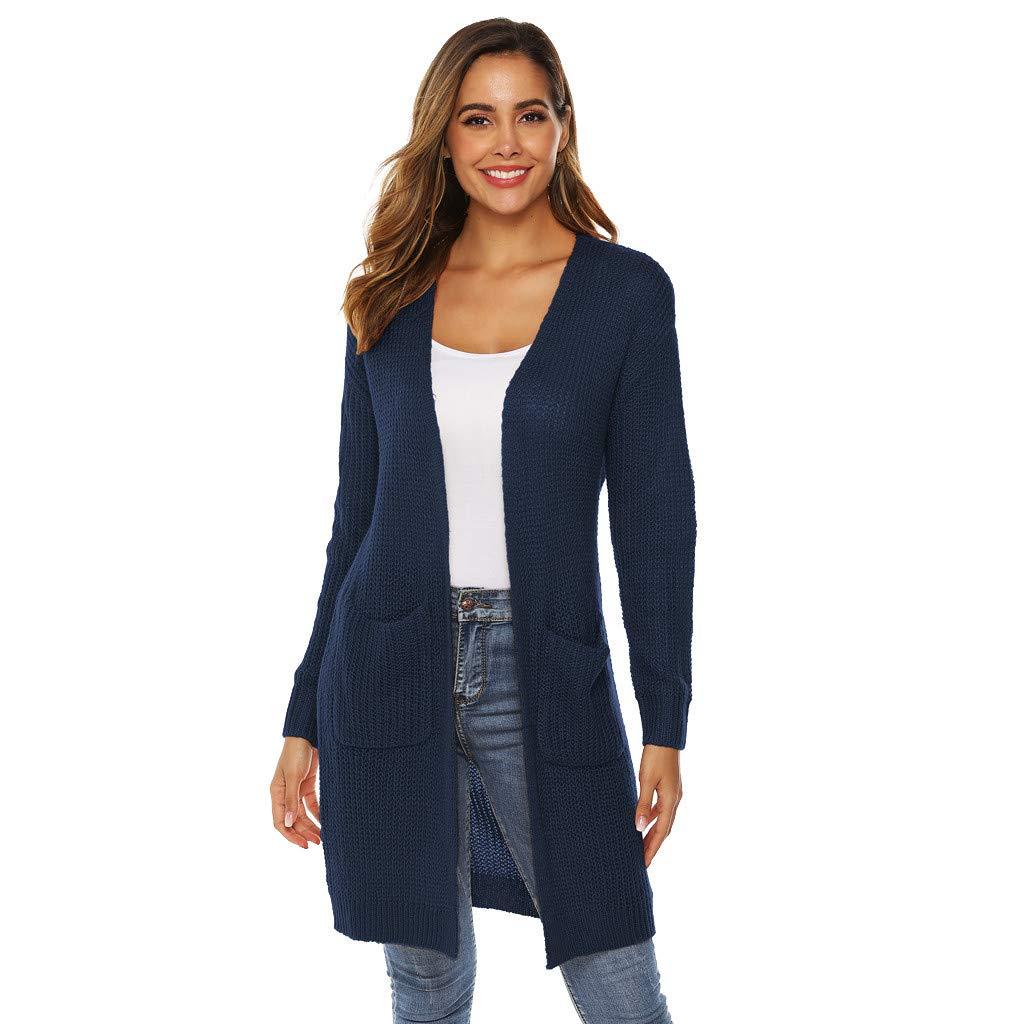 Inverlee Coat Womens Long Sleeve Knitting Open Cape Casual Coat Blouse Kimono Jacket Cardigan Navy