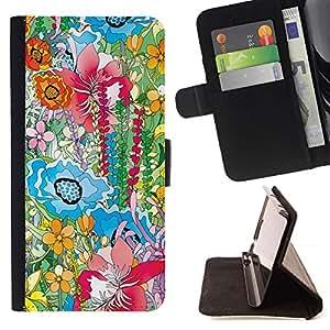 For Sony Xperia M2 Case , Pintura Hipster pétalos Naturaleza Positivo- la tarjeta de Crédito Slots PU Funda de cuero Monedero caso cubierta de piel