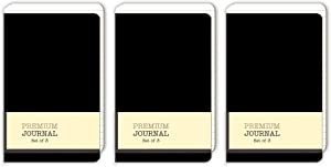 Personal Premium Journals, Pack of 9 Notepads 3.5in x 5.5in - Solid Color Lined Stationery Notebooks (Black)