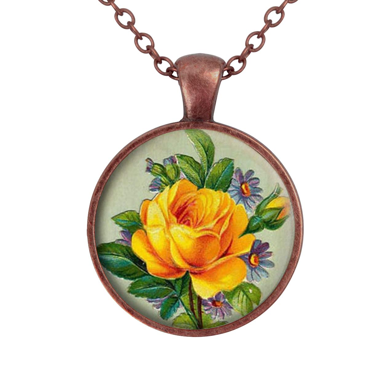 Family Decor One Yellow Rose Flower Pendant Necklace Cabochon Glass Vintage Bronze Chain Necklace Jewelry Handmade