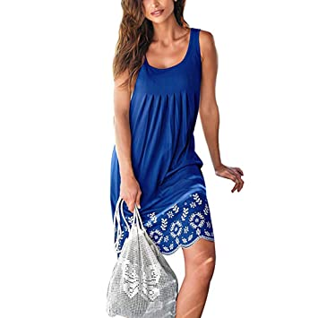 18f8185af009d Image Unavailable. Image not available for. Color: Womens Summer Casual  Sleeveless Mini Printed Vest Dresses