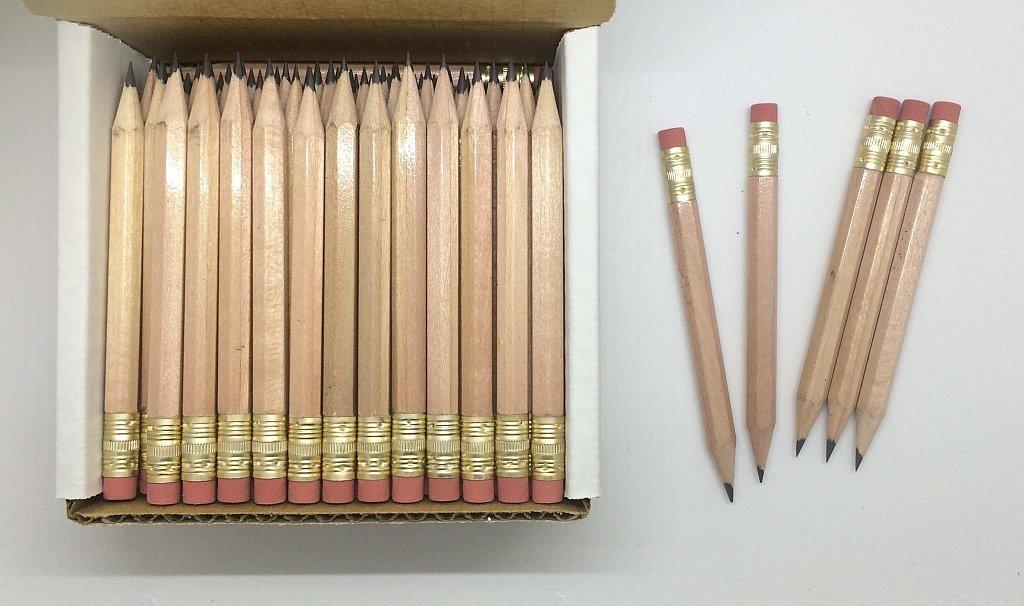 Half Pencils with Eraser - Golf, Classroom, Pew, Short, Mini - Hexagon, Sharpened, Non Toxic, #2 Pencil, Color - Natural, (Box of 48) Golf Pocket Pencils by Express Pencils