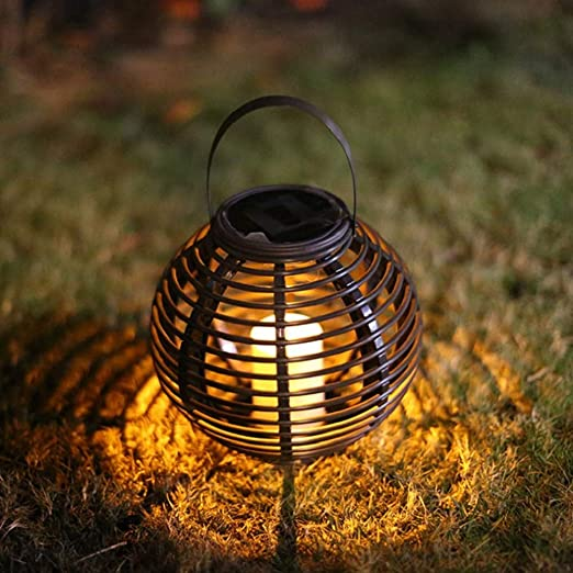 Lhoutdoor Lámpara de Vela Solar LED linternas luz Llama parpadeando Jardín LED lámparas al Aire Libre Impermeable iluminación Calle Decorativo: Amazon.es: Jardín