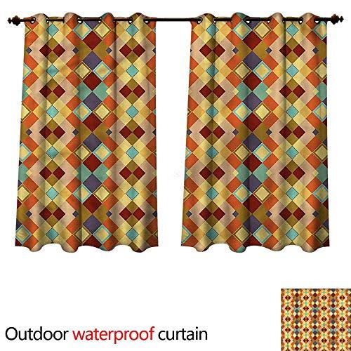 cobeDecor Yellow and Brown Outdoor Curtain for Patio Diamond Shaped W55 x L45(140cm x 115cm) (Cafe Diamond Diamond Brown)