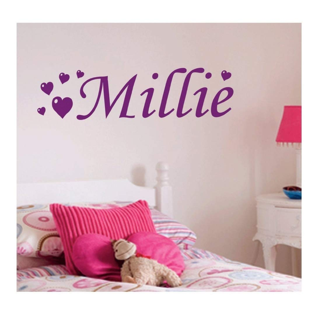 Personalised Love Heart Wall Sticker, Any Name, Any Colour, Childs Bedroom. Wall Art Desire®