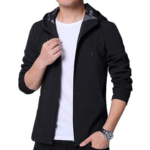 8d23ae2ff LTIFONE Mens Hoodie Casual Jacket Zip up Lightweight Sportswear Packable Windproof  Windbreaker Softshell Jacket(Black