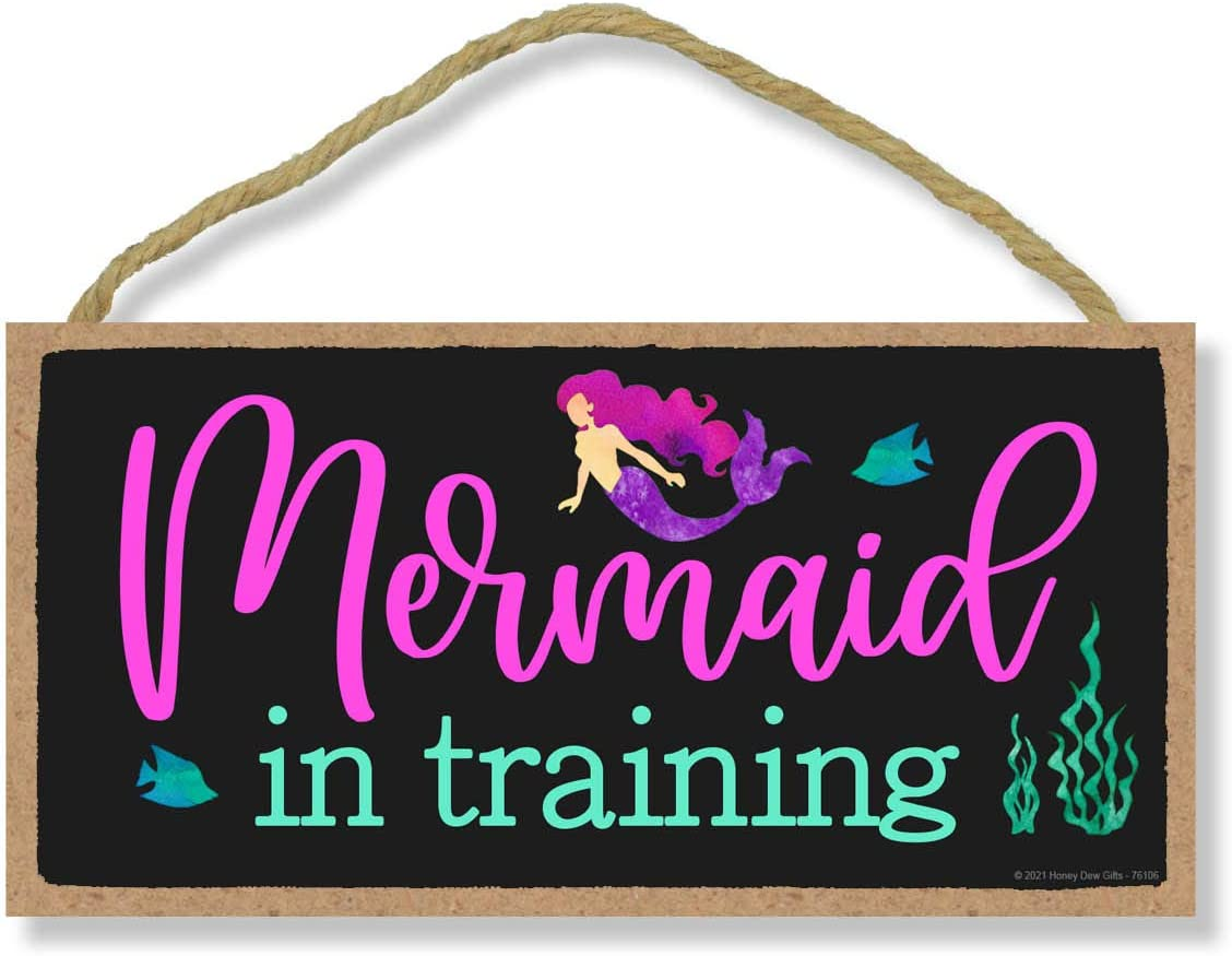 Honey Dew Gifts, Mermaid in Training, 10 Inches by 5 Inches, Mermaid Hanging Wood Sign Girl's Room Decor Gift, Beach House Style Decor, Funny Gift for The Mermaid Lover, Mermaid Fan
