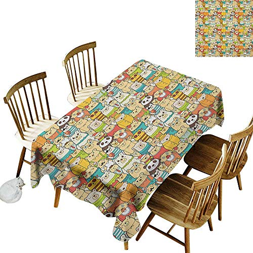 kangkaishi Iron-Free Anti-fouling Holiday Long Tablecloth Table decorationMany Different Polar Bears Comical Characters with Funny Cute Faces Doodle Teddy Crowd W52 x L70 Inch Multicolor ()