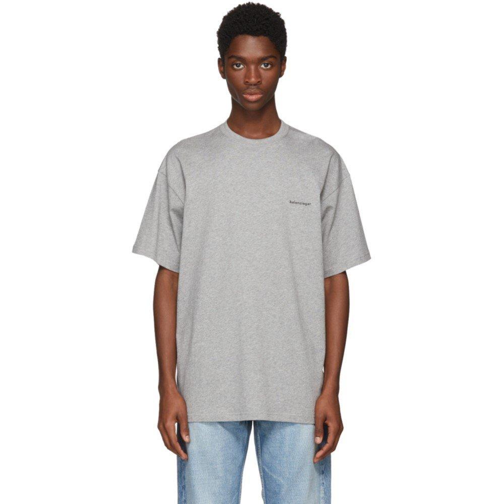 (バレンシアガ) Balenciaga メンズ トップス Tシャツ Grey Small Logo T-Shirt [並行輸入品] B07D15F6S2 XS
