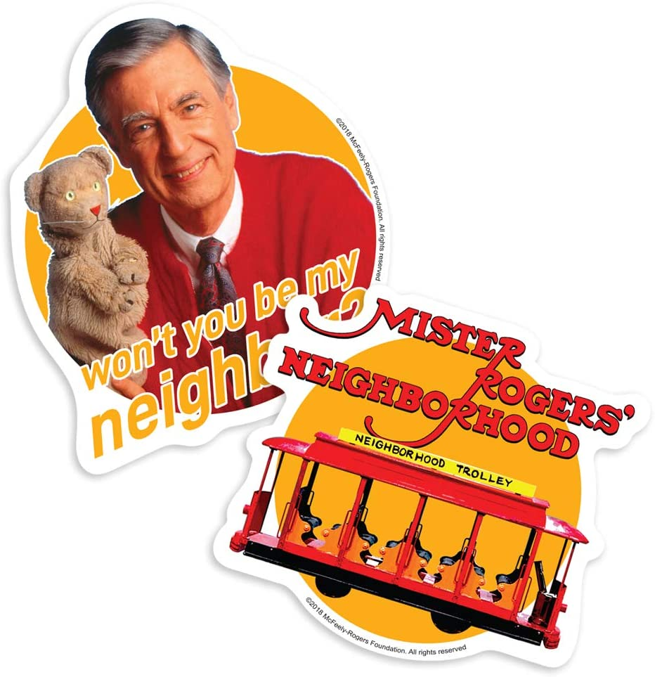 Amazon Com Popfunk Mister Rogers Trolley Logo Collectible Stickers Home Kitchen