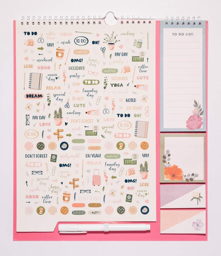 Dimensioni di 30x34 cm bloc adesivi penna e adesivi stickers to do list Calendario da Muro 2020//2021 Botanical con planner mensile da Settembre 20 a Dicembre 21 Include bloc notes