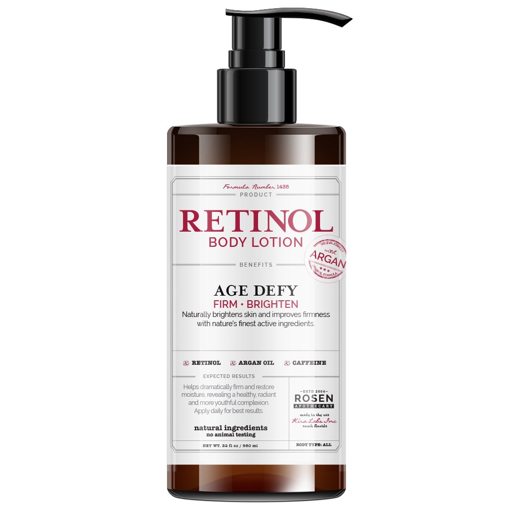 Rosen Apothecary Anti-Aging Retinol Body Lotion - Age Defy - Body Firms & brightens 32oz / 960ml by Rosen Apothecary