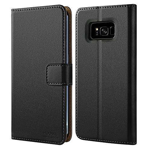 HOOMIL Case Compatible with Samsung Galaxy S8, Premium Leather Flip Wallet Phone Case Cover for Samsung Galaxy S8 (Black) ()