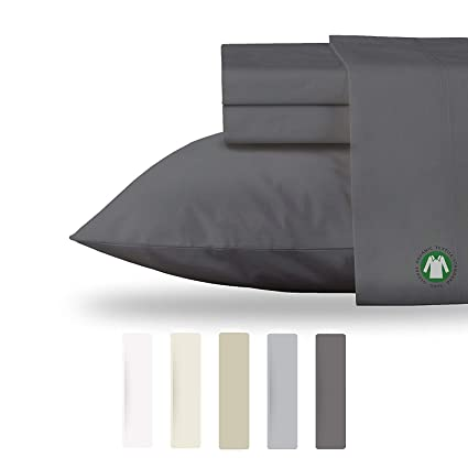 NEW 100% Organic Cotton Sheets Set GOTS Certified Hypoallergenic Bedding,  Cool Soft Percale 300