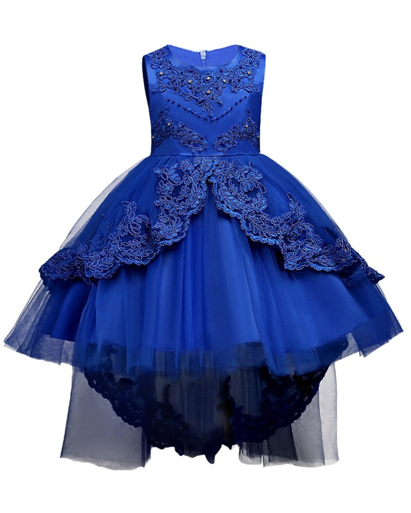 WEONEDREAM Baby Girl Kids Dresses Long Sleeve Summer Clothes O Neck Knee Length Tulle Sash Casual Playwear Size 2T 3T Years 24 Months Sleeveless Lace Flower Girl Dress with Train (Sapphire, 110)