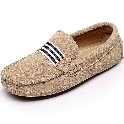 Shenn Niños Niñas Colegio Correa Ponerse Gamuza Cuero Mocasines Zapatos (Beige, Niño Grande EU35