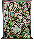 LARGE ONE-OF-A KIND STUNNING UZBEK TURKISH OTTOMAN SILK EMBROIDERY SUZANI T570