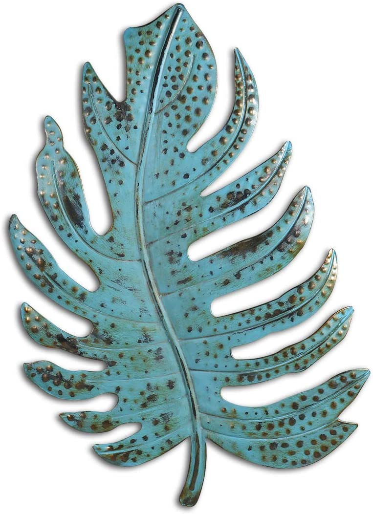 Galapara Decoracion de Pared, Blue Leaf Wall Art Iron Leaf Decoración de Pared de Metal de Hierro Decoración de Pared de Arte para el hogar Adorno Colgante de Pared