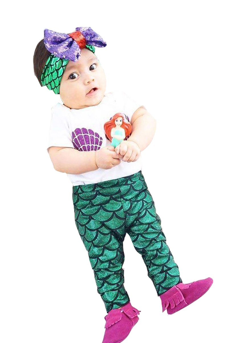 OUCHI® Kids children Girls The Mermaid Knitted Suit Baby Girls Rompers Green 90cm
