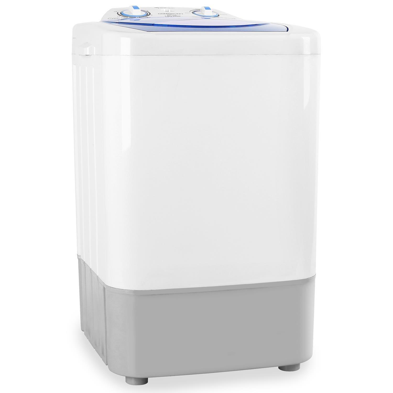 oneConcept SG002 Mini-Waschmaschine Camping-Waschmaschine Toploader für Singles Studentenhaushalte Camper 2, 8 kg Kapazität 250 Watt Leistung geräuscharm geringer Wasser- und Energieverbrauch ohne Wäscheschleuder weiß-blau SG002-v2