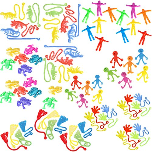 72 Piece Sticky Stretchy Toys Pack for Kids |Sticky Hands, Feet, Dinosaurs, Smiley Face, Stretchy Men, Frogs|Party Favors, Pinata Fillers, Crane Machine, Carnival Prizes, Classroom Pack (Feet Pinata Happy)