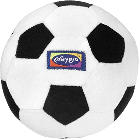 Oferta amazon: Playgro Mi Primera Pelota de Fútbol, Sonajero Integrado, Desde los 6 Meses, My First Soccer Ball, Negro/Blanco, 40043