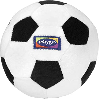Playgro Mi Primera Pelota de Fútbol, Sonajero Integrado, Desde los 6 Meses, My First Soccer Ball, Negro/Blanco, 40043