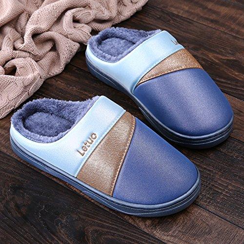 Y-Hui Damas zapatillas de algodón, Winter Pack inferior grueso y resistente al agua para interiores Inicio fondo blando zapatillas, hombre de invierno,42/43 (Recomendado 41/42 Desgaste),Azul marino 42/43 (recommended 41/42 wear) Navy Blue