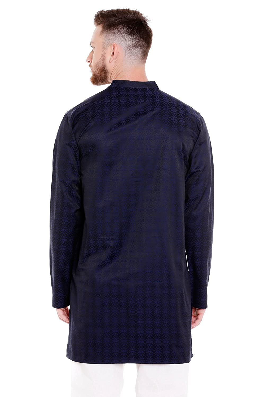 e3bd6d571d7 In-Sattva Men's Indian Banded Collar Mid-Length Kurta Tunic Micro Dobby  Pattern; Navy Blue; SM at Amazon Men's Clothing store: