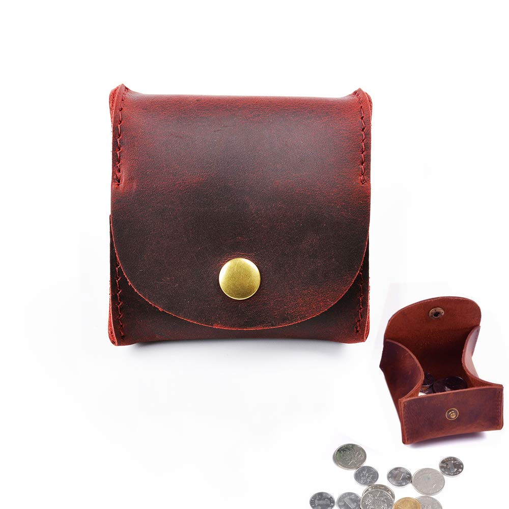 Dark Red Juland Rustic Leather Moon Pocket Coin Case Genuine Leather Squeeze Coin Purse Pouch Change Holder Tray Purse Wallet for Men /& Women