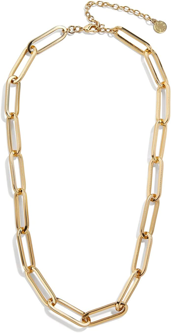 JIAHATE Rectangle Link Necklace,Women Oval Link Chain Necklace Choker Flat Paperclip Necklace Jewelry for Girls,Gold//Cable Necklace