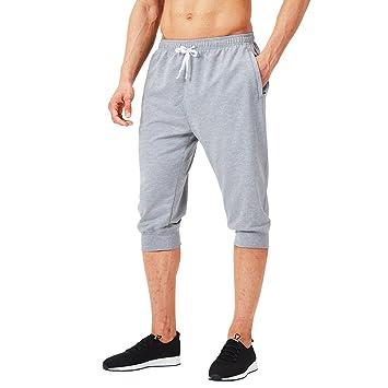NAVISKIN 3/4 Pantalones Capri de Fitness para Hombre Pirata Pants ...