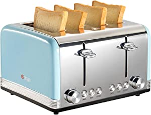 Gohyo 4 Slice Toaster 100% Stainless Steel with Wide Slots & Removable Crumb Tray for Bread & Bagels(4 Slice,Blue)