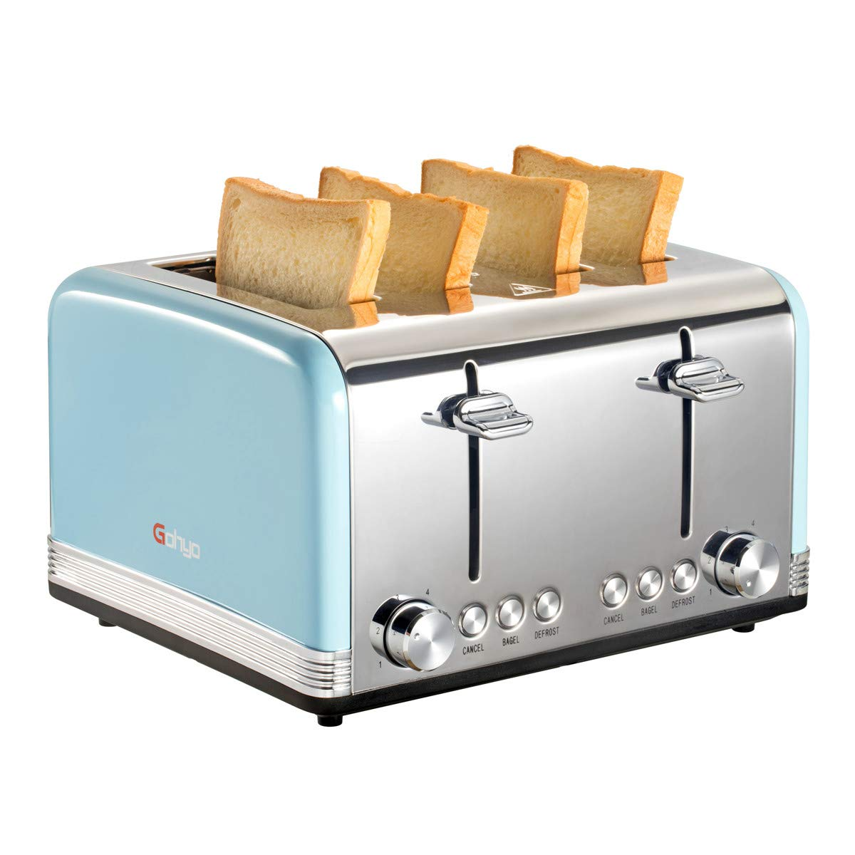 Gohyo 4 Slice Toaster | Stainless Steel with Wide Slots & Removable Crumb Tray for Bread & Bagels (Blue)