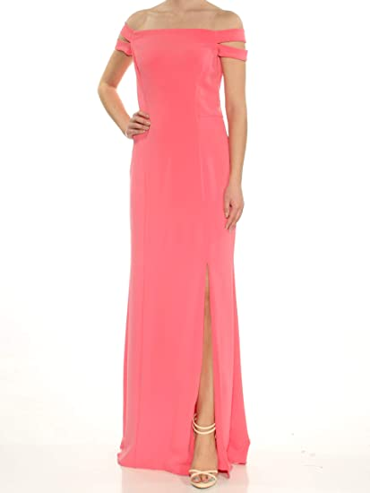 4ee46648bff16 Ralph Lauren Womens Pink Slitted Sleeveless Off Shoulder Full-Length Shift Evening  Dress Size: 2: Amazon.co.uk: Clothing