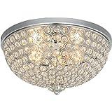 "KARMIQI Crystal Ceiling Light, 13"" 2-Light Flush Mount Light Fixture for Living Room, Bowl Shaped Chrome Finish Ceiling Lamp"