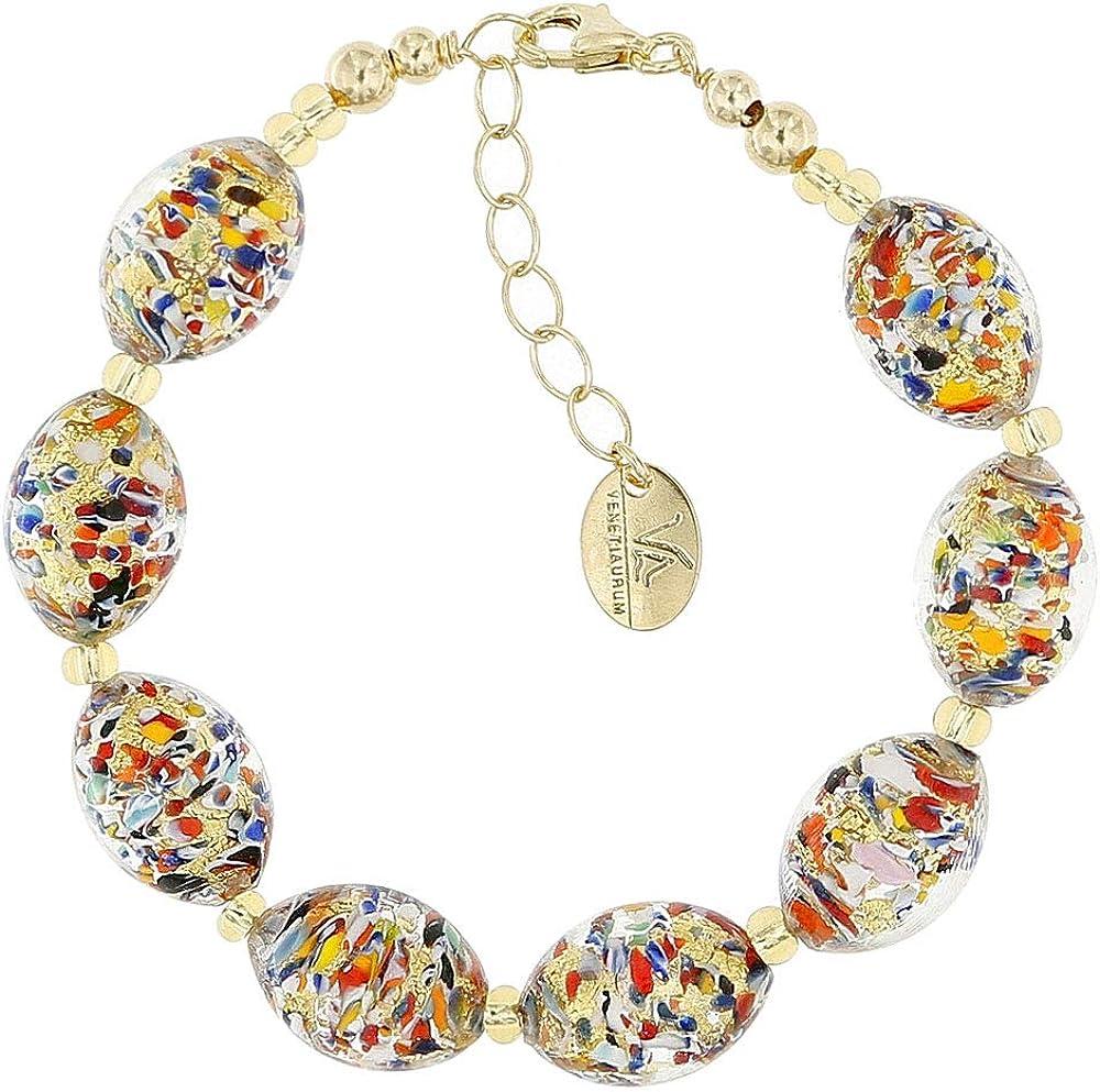 Venetiaurum – Pulsera de mujer con perlas de cristal original de Murano y plata 925 – Fabricado en Italia certificado