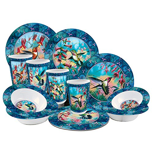R&D Enterprises/Motorhead Products JQ-61109 12 Piece Hummingbird Dinnerware Set, Blue (Hummingbird Set)