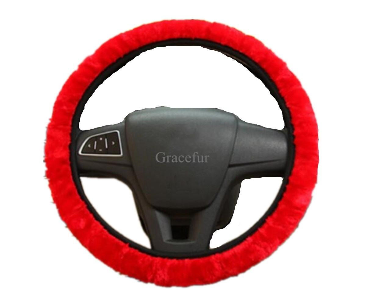 Gracefur Universal Faux Wool Anti-Slip 1 Piece Auto Car Steering Wheel Cover, Warm in Winter, Durable and Breathable Grey
