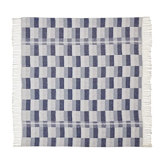 """Amazon Brand – Stone & Beam Modern Farmhouse Color Block Throw Blanket, Soft and Durable, 50"""" x 60"""", Blue Multi - Varying shades of blue blocks on ivory give this blanket both modern and farmhouse touches. A cotton/acrylic blend makes it soft yet durable to snuggle under for a good night's sleep, or as a handsome drape over a living room chair. 50"""" x 60"""" 50% Cotton 50% Acrylic - blankets-throws, bedroom-sheets-comforters, bedroom - 61gP%2BVq%2BnqL. SS570  -"""