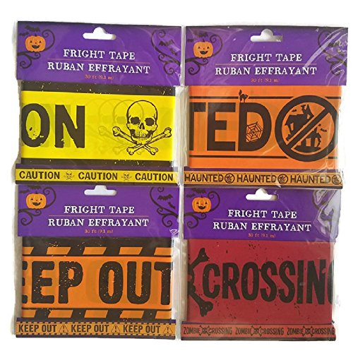 Halloween Decor Caution, Keep Out, Haunted and Zombie Crossing Tape Bundle of (Calabazas De Papel Halloween)