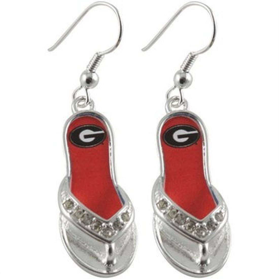 Georgia Bulldogs 1.25 Inch Licensed Silver Toned Flip Flop Earrings